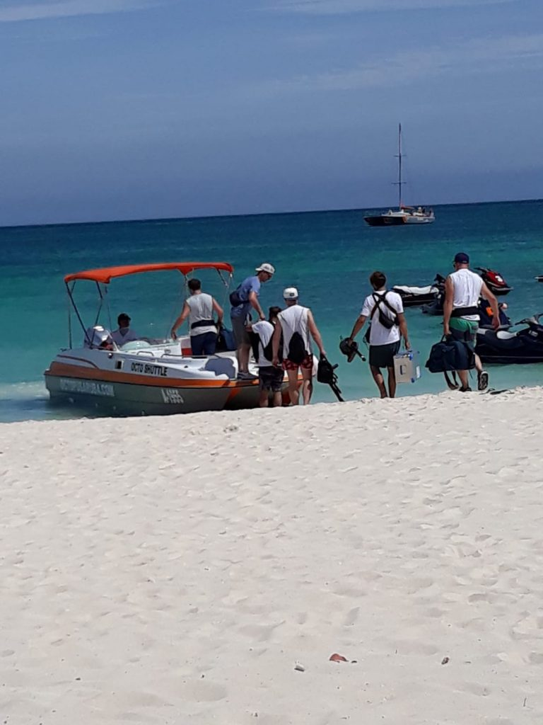 Loading up for a private boat tour Aruba